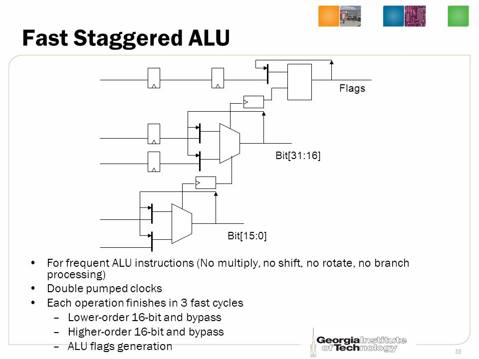 Fast Staggered ALU Bit[15:0] Bit[31:16] Flags. For frequent ALU instructions (No multiply, no shift, no rotate, no branch processing)